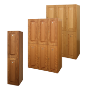 Wood Veneer Oak Lockers Double Tier / Veneer raised panel wood Lockers