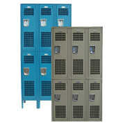 Ventilated Employee Lockers Double Tier 
