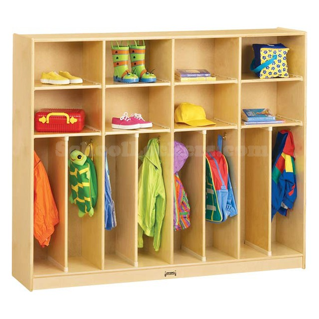 Kids 2 Person Wide Wooden Coat Lockers With Cubbies