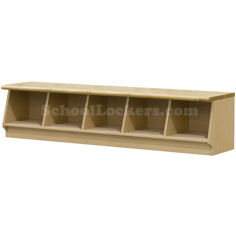 Wood Laminate Cubbie Bench With 5 Cubbies