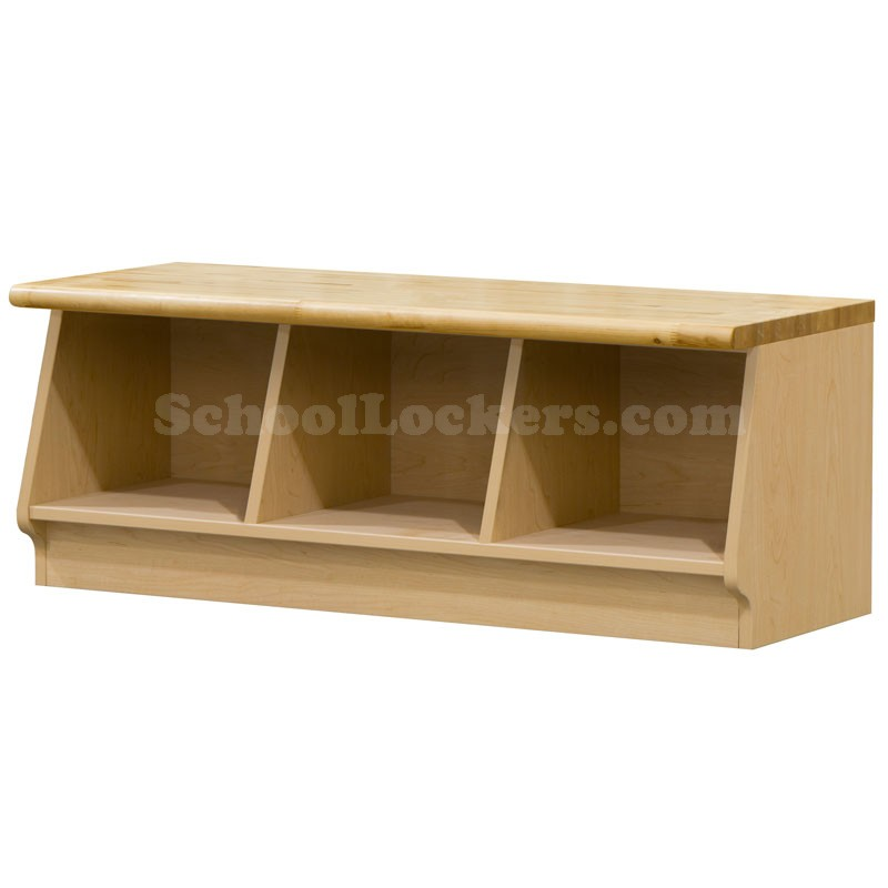 Wood Laminate Cubbie Bench With 3 Cubbies
