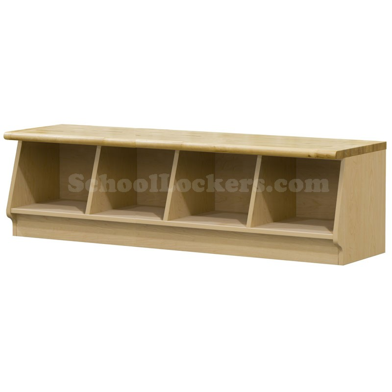 Wood Laminate Cubbie Bench With 4 Cubbies