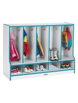 Colorful Toddler Coat Locker with Cubbies and Steps