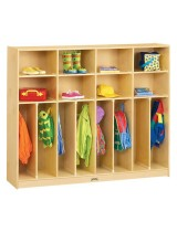 Kids 8-person Wide Wooden Coat Lockers with Cubbies