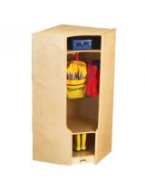 Kids Wooden Corner Coat Locker with Cubby and Seat