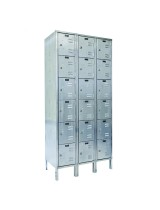 Six Tier 3-Wide Stainless Steel Box Lockers