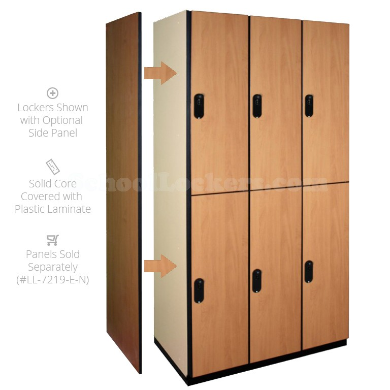 Double Tier Wooden Lockers Natural
