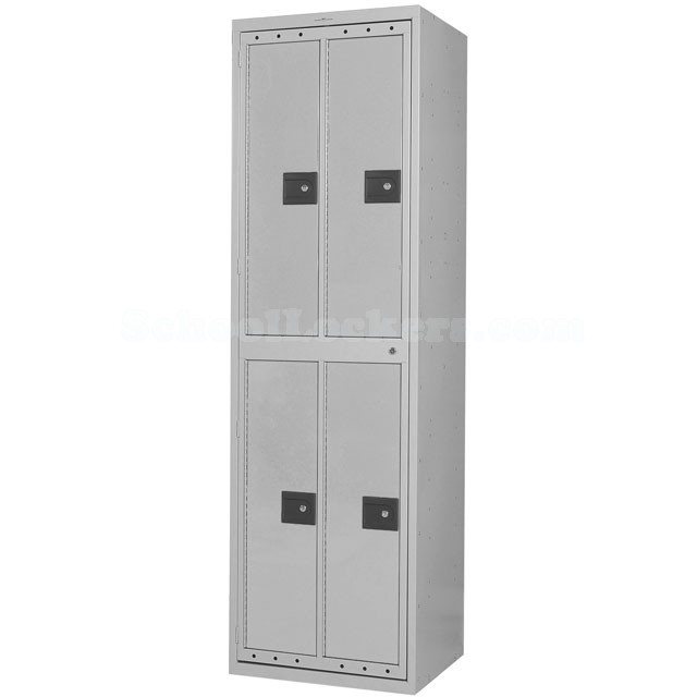 Four Compartment Extra Wide Uniform Lockers Gray