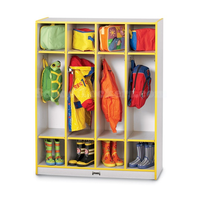 Colorful Kids Coat Lockers With Dual Cubbies