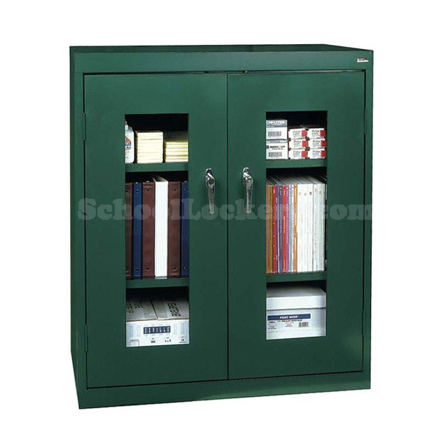 counter height storage locker with see