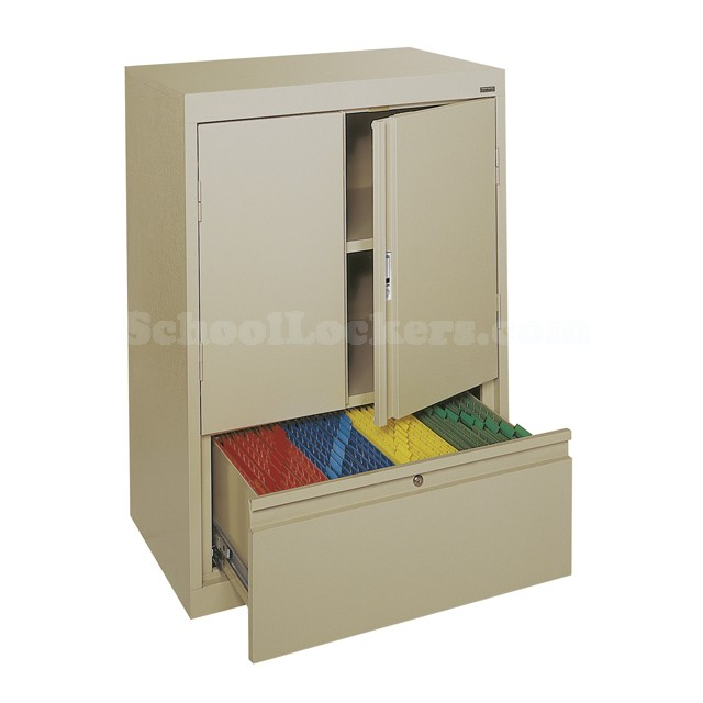 Embossed Counter Height Storage Cabinet With File Drawer