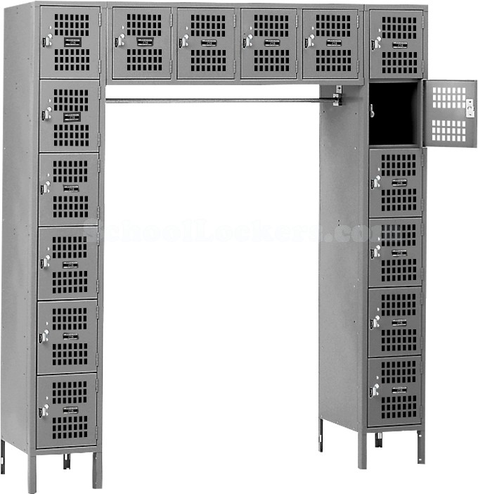 Gray Visually Perforated 16 Person Locker
