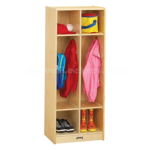 Kids Wooden Coat Locker With Dual Cubbies