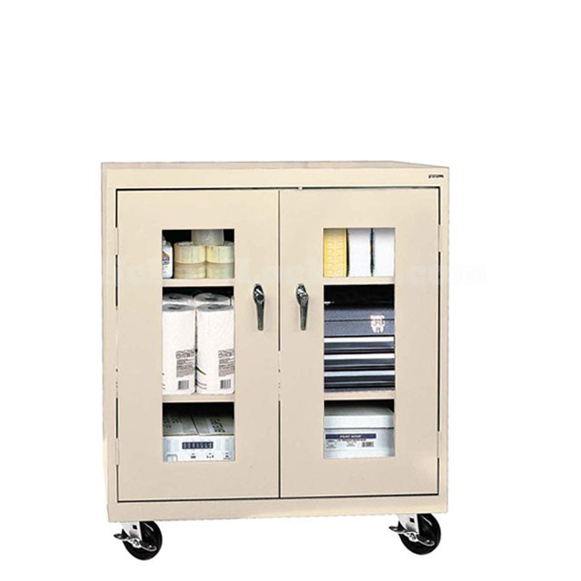 sc 1 st  SchoolLockers.com & Mobile Counter Height Storage Cabinet with See-Through Doors