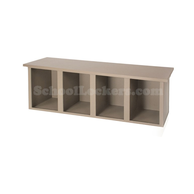 plastic cubby bench with 4 cubbies