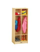 Kids Wooden Coat Locker with Dual Cubbies